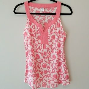 Old Navy coral white filigree floral tank small